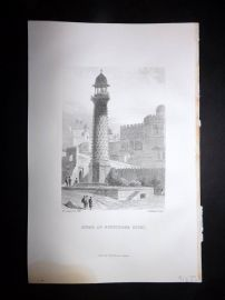 Nolan India C1880 Antique Print. Minar at Futtypore Sicri